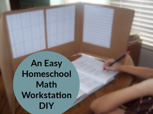 Easy Homeschool Math Workstation DIY
