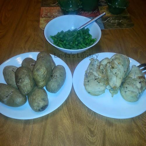 chicken baked potato greenbean