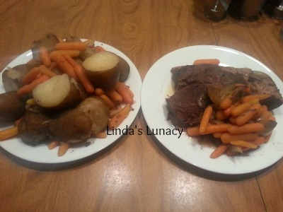 Beef roast with potatoes  carrots onions