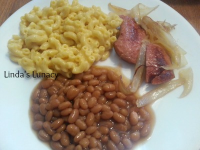 sausage onions macaroni cheese baked beans