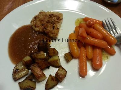 pork chops ranch glazed carrots fried potatoes homemade applesauce