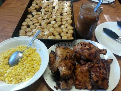 bbq chicken crispy potatoes corn