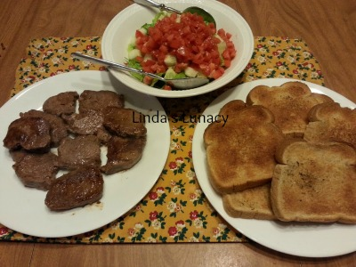 Venison Steaks Salad Garlic Bread