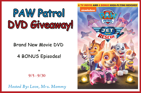 PAW Patrol Jet to the Rescue DVD Giveaway